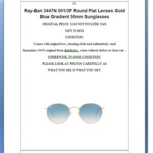 ba6ee784af98a Ray Ban Accessories - Ray-Ban 3447N 001 3F Lenses Gold Blue Sunglasses